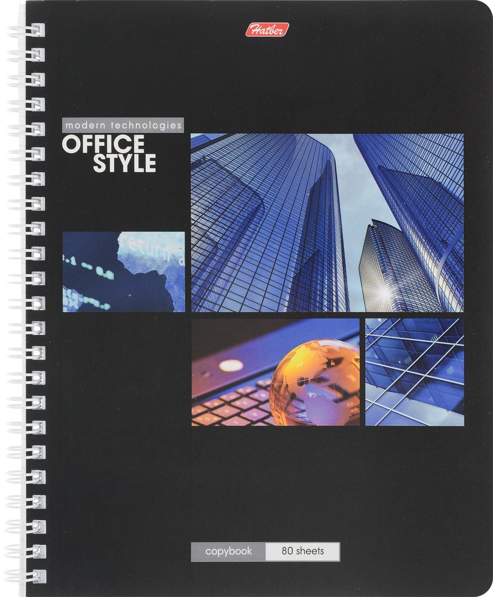 Hatber Тетрадь Офис 80 листов в клетку цвет черный #1