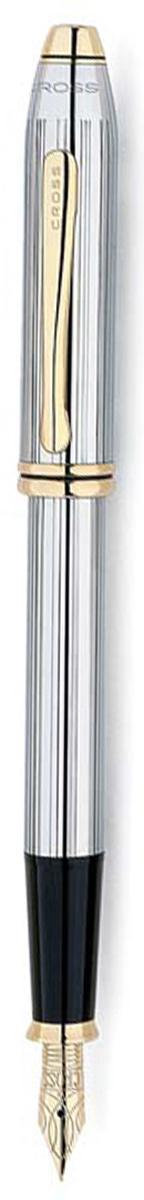 Ручка перьевая Cross Townsend, цвет чернил: черный, цвет корпуса: серебристый, золотистый, перо F  #1