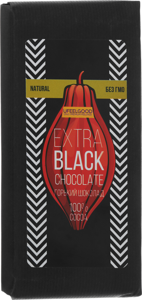 UFEELGOOD Extra Black Chocolate горький шоколад 100 %, 200 г #1