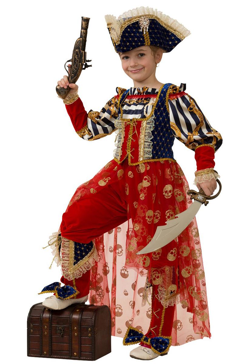 Батик Костюм карнавальный для девочки Пиратка Морская размер 32  #1