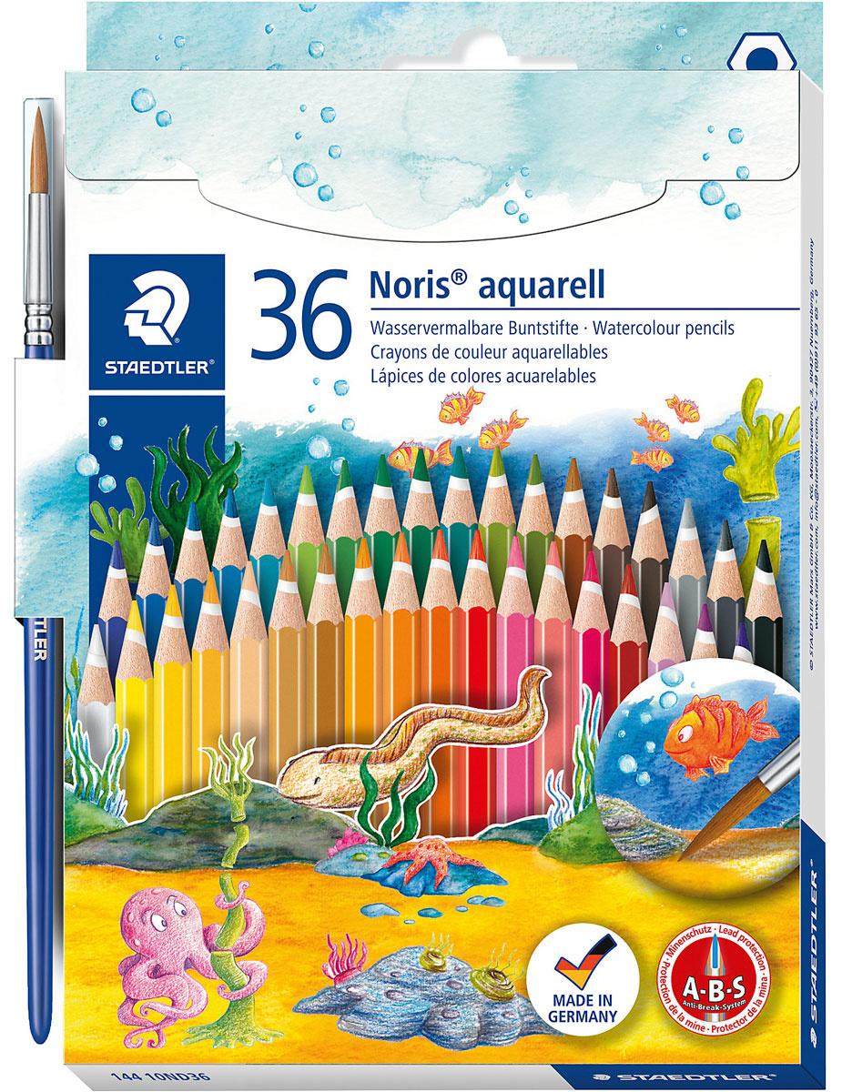 Staedtler Набор акварельных карандашей Noris Club с кисточкой 36 цветов  #1