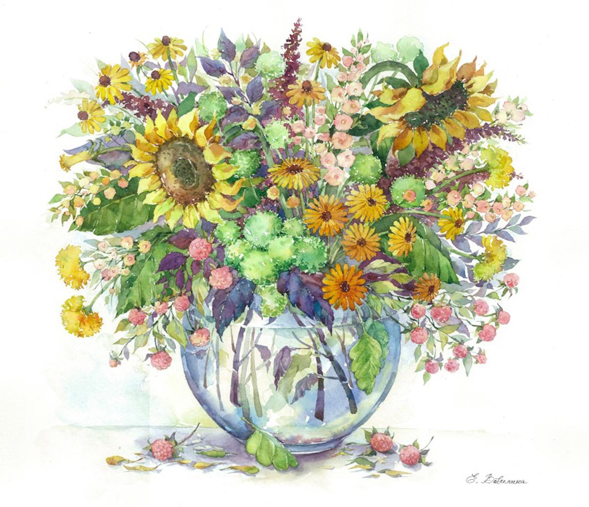 """Картины по номерам на холсте""""Подсолнухи в вазе"""", премиум, 40х50, MG2062  #1"""