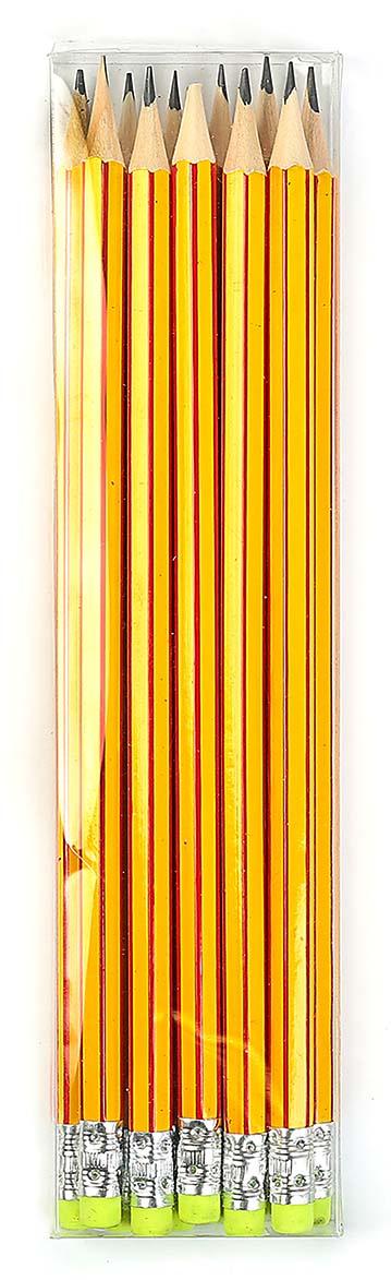 Calligrata Карандаш чернографитный Полоски с ластиком твердость HB цвет корпуса желтый красный 2864370 #1