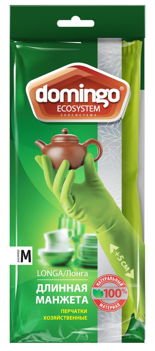 """Перчатки хозяйственные """"Доминго"""", с хлопковым напылением, цвет: зеленый. Размер M  #1"""