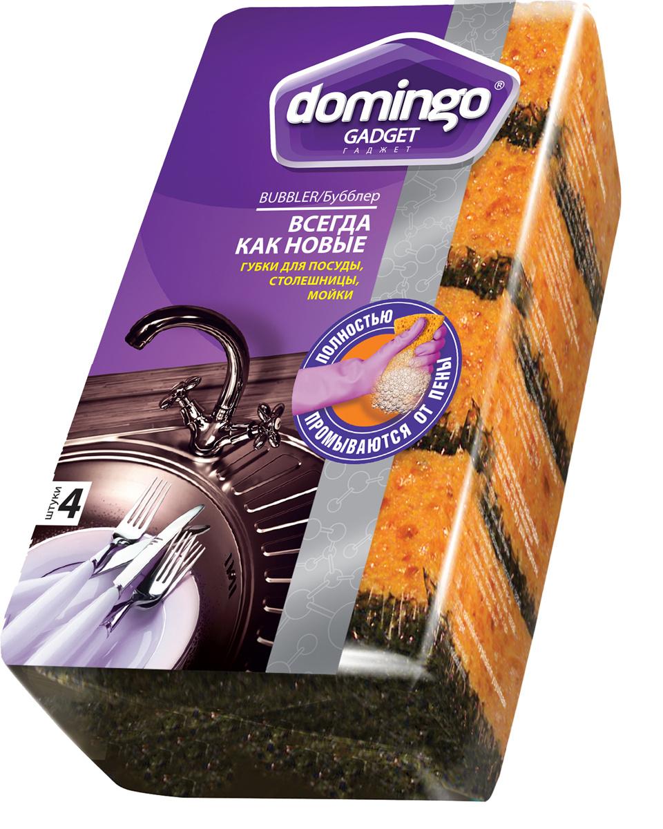"""Губка для мытья посуды Доминго """"Бубблер"""", 9,6 х 6,4 x 3,3 см, 4 шт  #1"""