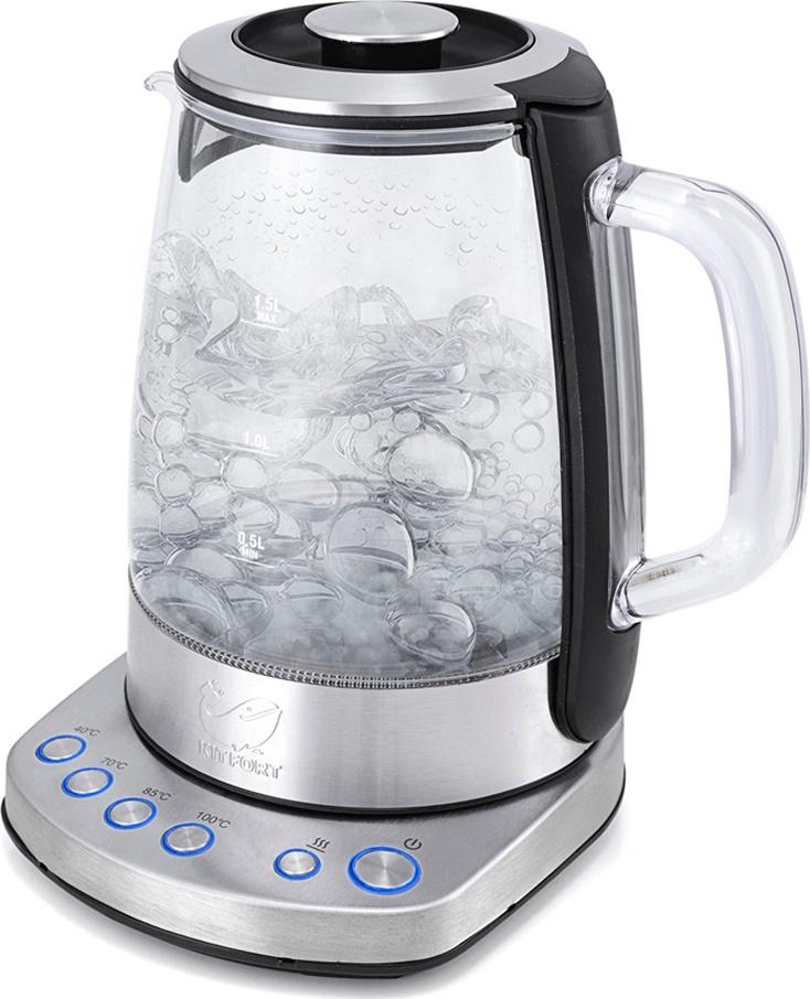 Электрический чайник Kitfort КТ-626, прозрачный, серый металлик, серебристый, черный  #1