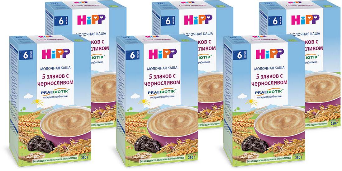 Hipp каша молочная 5 злаков с черносливом пребиотиками, с 6 месяцев, 6 шт по 250 г  #1