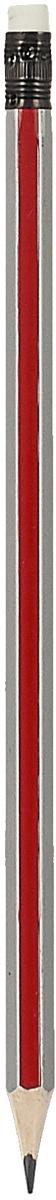 Calligrata Карандаш чернографитный Полоски с ластиком твердость HB цвет корпуса красный серый  #1