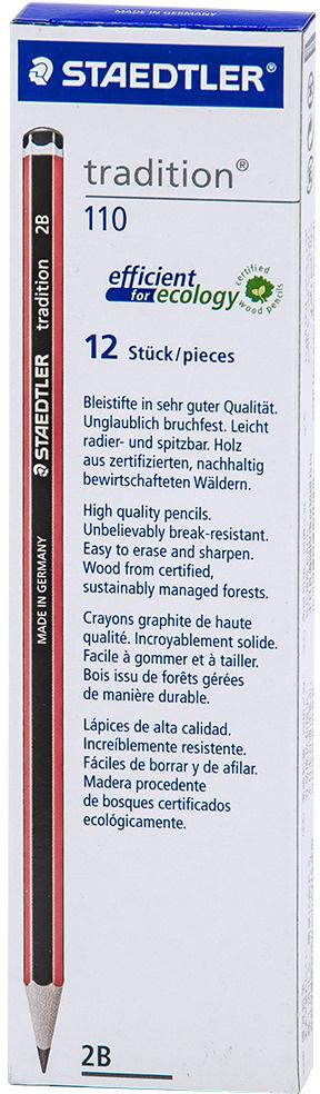 Набор чернографитовых карандашей Staedtler Tradition 110 2В, 12 шт #1