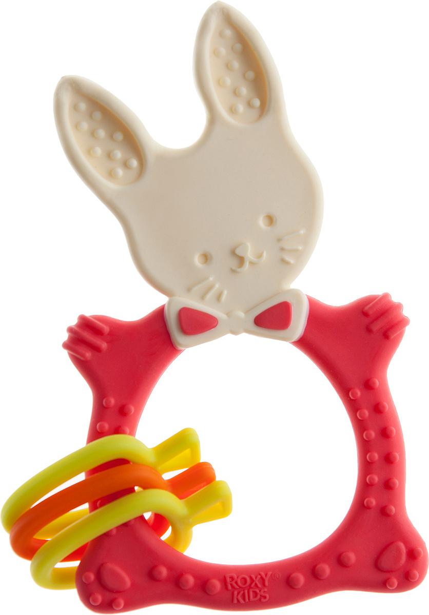 Прорезыватель Roxy-kids Bunny, универсальный, цвет: коралловый  #1