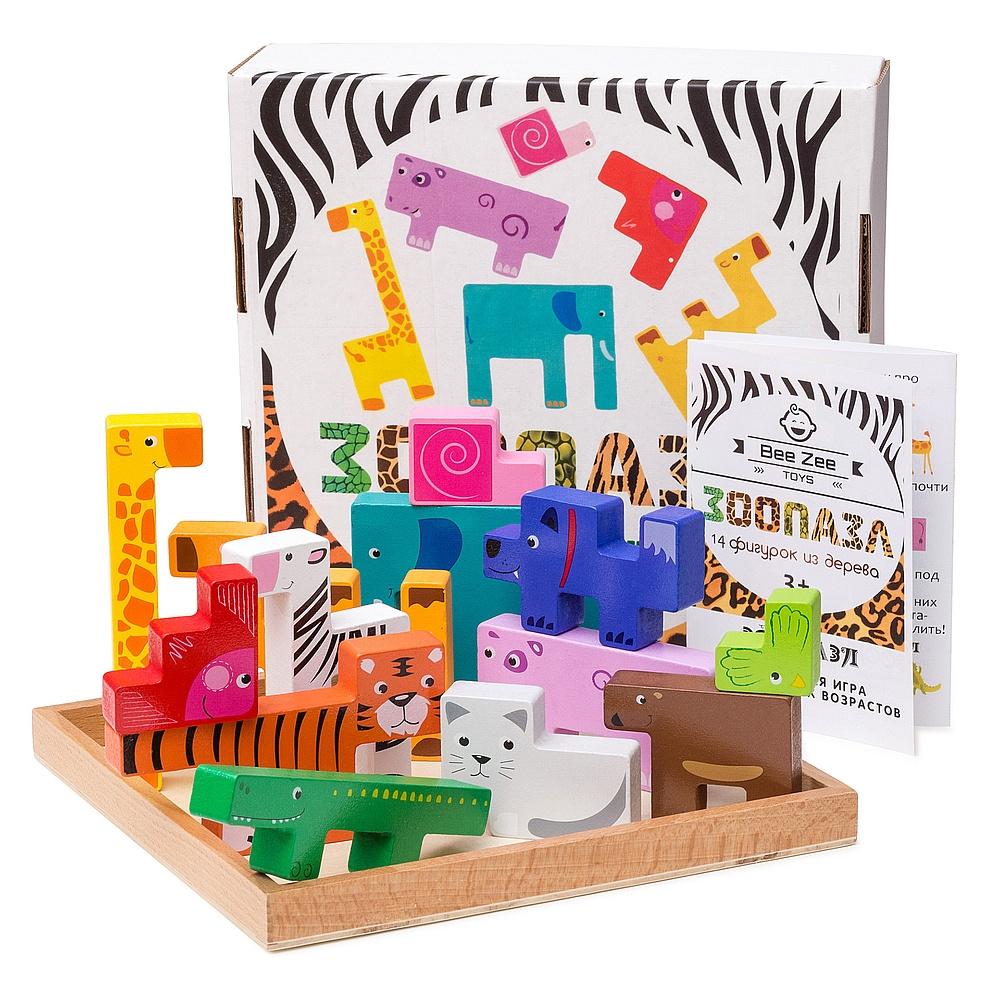 BeeZee Toys Набор из геометрических фигурок деревянных животных Зоопазл, тетрис деревянный пазл головоломка #1