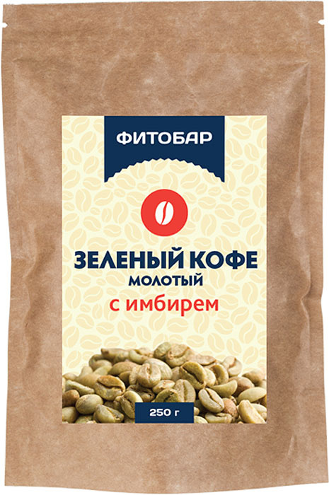 """Кофейный напиток Фитобар """"Кофе зеленый молотый с имбирем"""", 250 г  #1"""