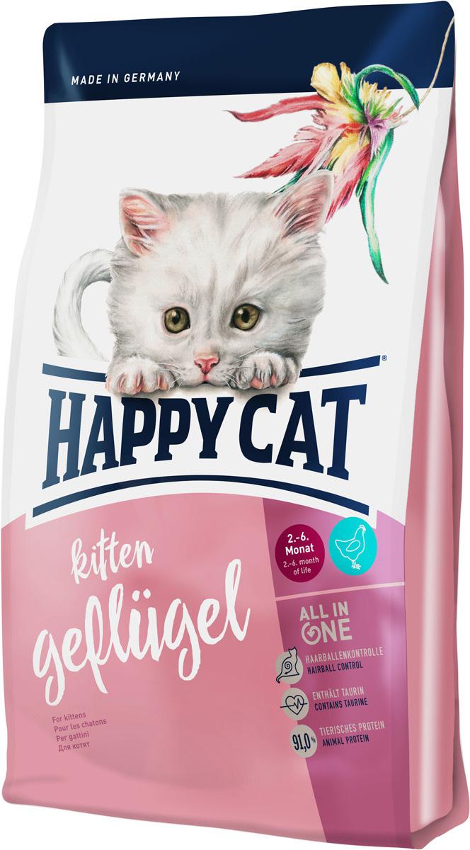 Корм сухой Happy Cat Kitten, для кошек, птица, 4 кг #1