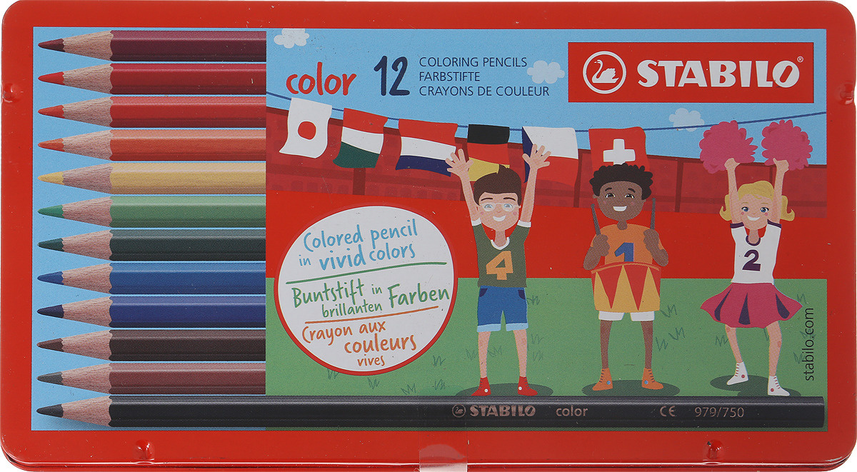 Карандаши цветные STABILO Color, 12 цветов, в металлическом футляре  #1