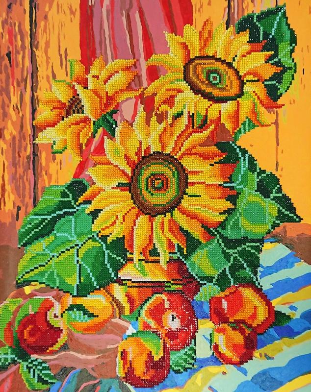 алмазная мозаика Color Kit алмазная картина раскраска 2 в 1 натюрморт с подсолнухами Ra016