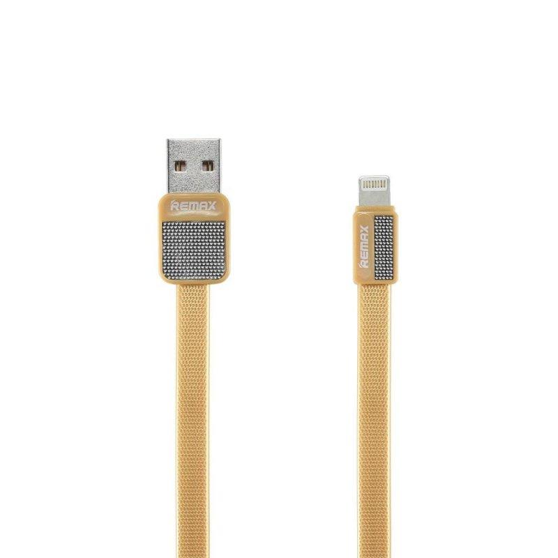 Кабель USB для iPhone Lightning Remax RC-044i плоский золото #1