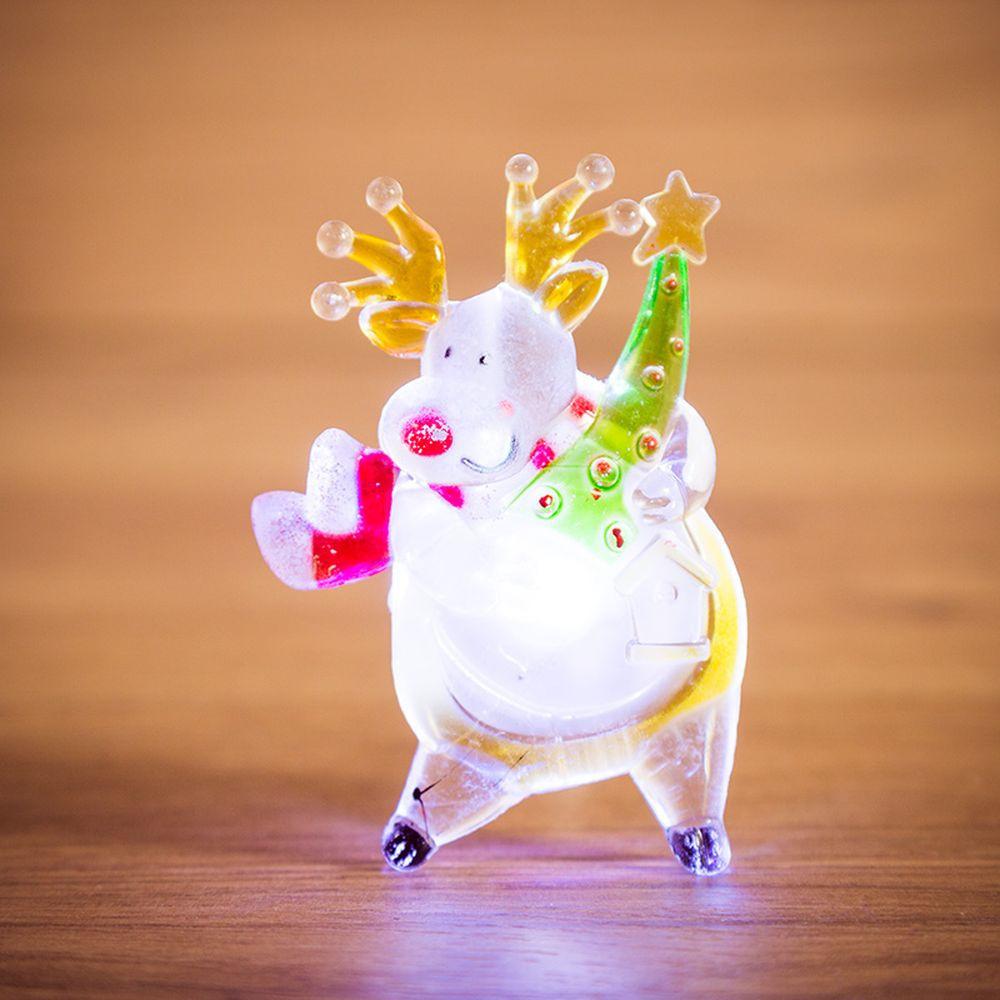 """Светодиодная фигура """"Олень"""" со сменой цвета на присоске 70x95x13 мм, цвет свечения: RGB  #1"""