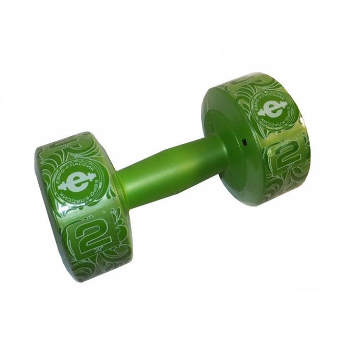Гантели Euro Classic Гантель (корпус пластик) 1,5кг/шт, фиолетовый, 1 шт. по 2 кг, светло-зеленый цвет #1