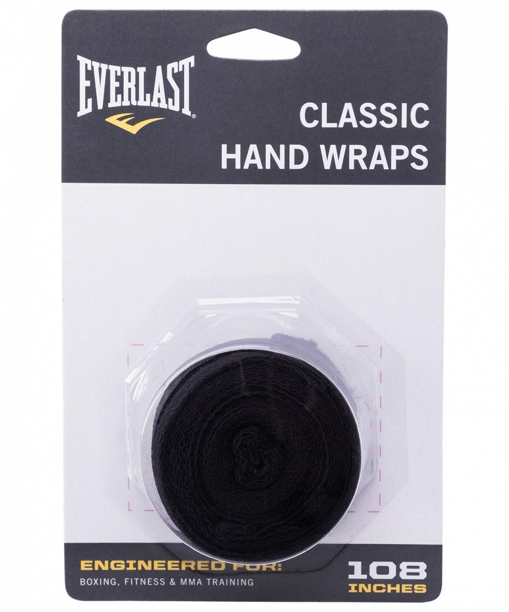 Бинт боксерский Everlast 4463BK, 2.5м, эластик, черный #1