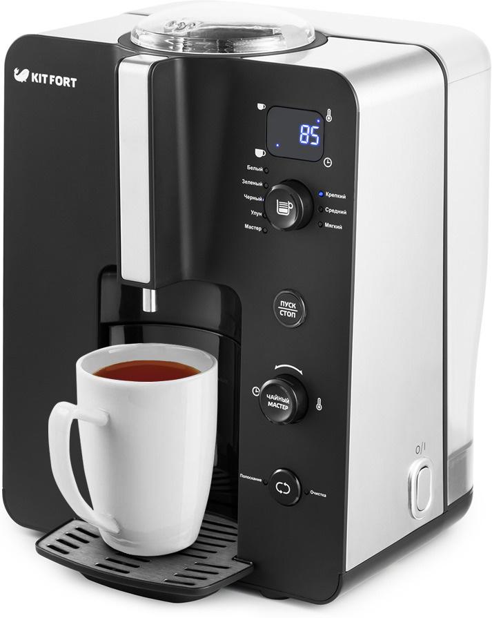 Электрический чайник Kitfort КТ-630 (автоматическая чаеварка), черный, серебристый  #1