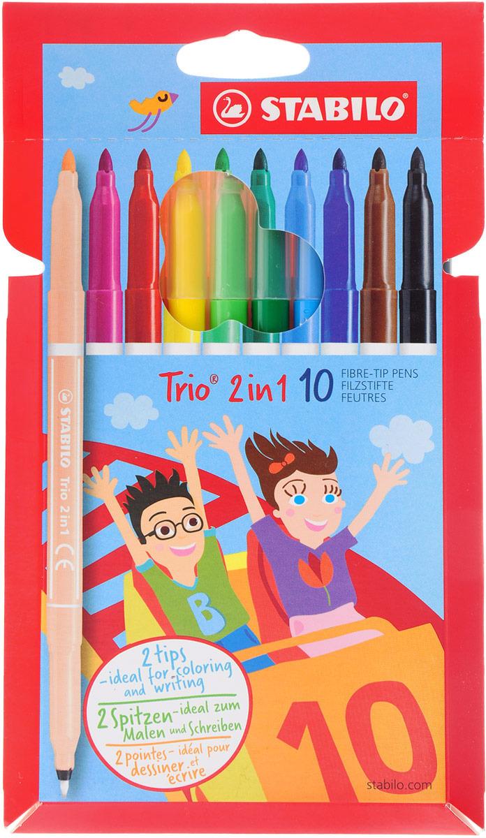 Фломастеры двусторонние STABILO Trio 2 в 1, 10 цветов, 10 штук #1