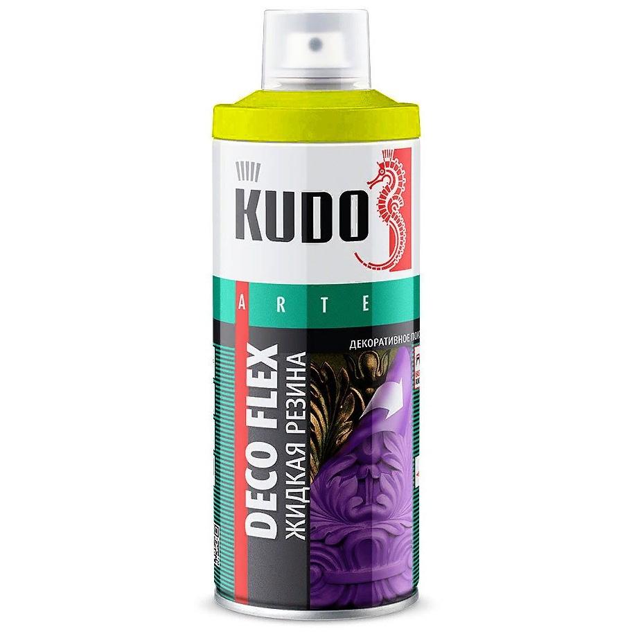 "Жидкая резина KUDO ""DECO FLEX"", желтый, аэрозоль, 520 мл #1"