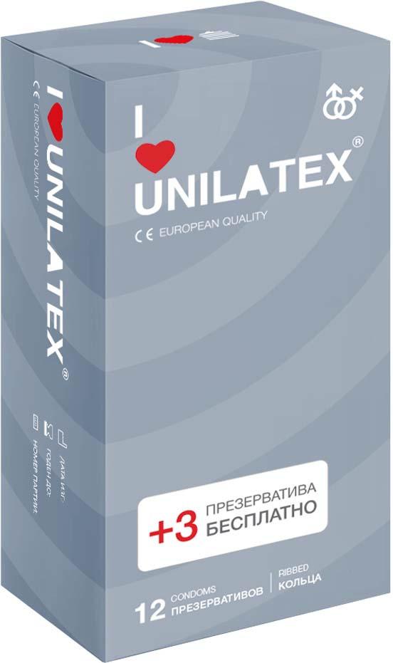 Презервативы Unilatex Ribbed, 12 шт. + 3 шт. в подарок #1