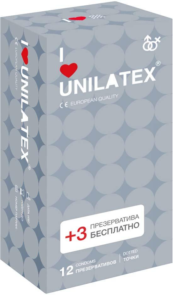 Презервативы Unilatex Dotted, 12 шт. + 3 шт. в подарок #1