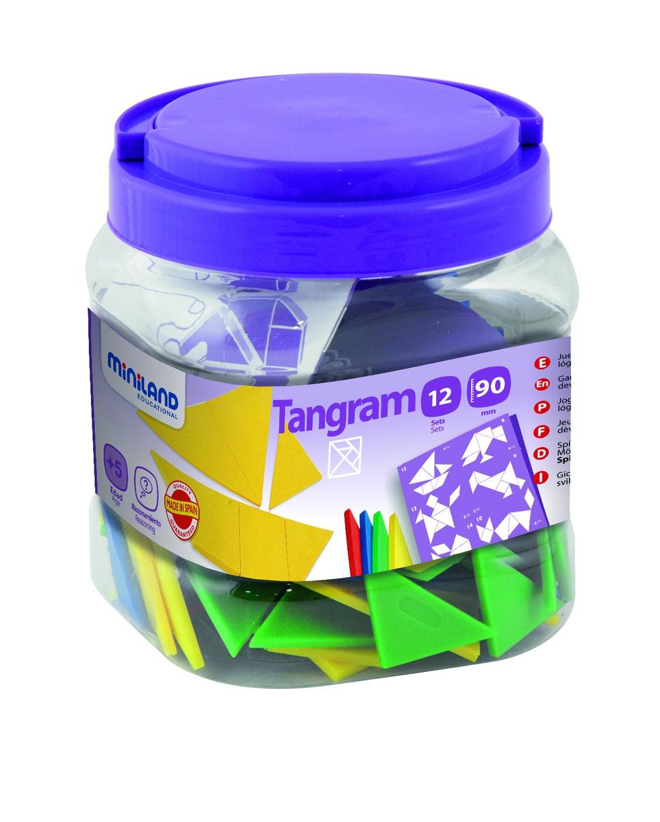Головоломка Танграм Miniland 12 фигур (84 элемента) в контейнере  #1