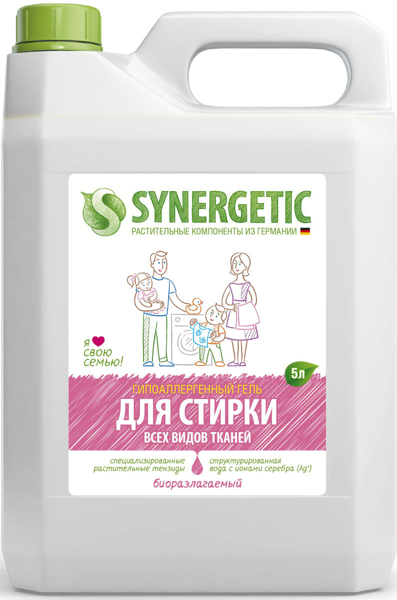 synergetic для стирки всех видов тканей 5л купить