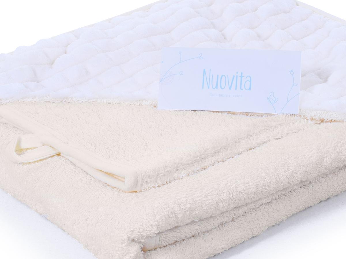 Полотенце детское с капюшоном NUOVITA махра/плюш-клетка Хлопок, 100x100 см, белый, бежевый  #1