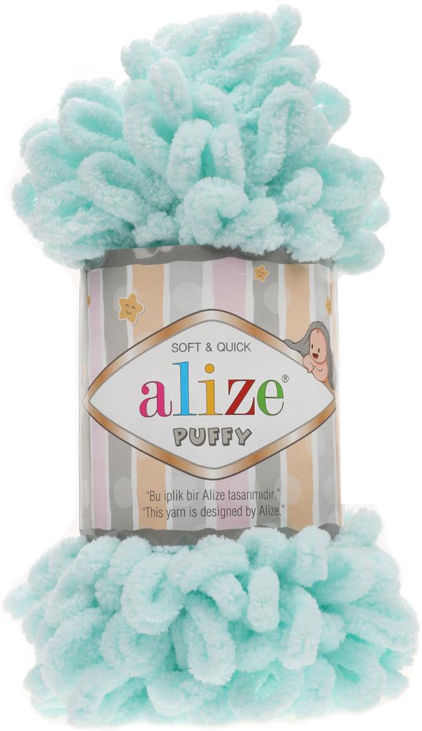 Пряжа Alize Puffy, 7722479, 15 водяная зелень, 100 г, 9,2 м, 5 шт #1