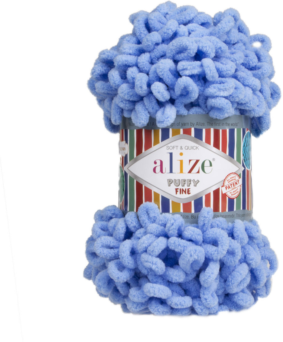 Пряжа Alize Puffy Fine, 7725814, 112 голубой, 100 г, 14 м, 5 шт #1