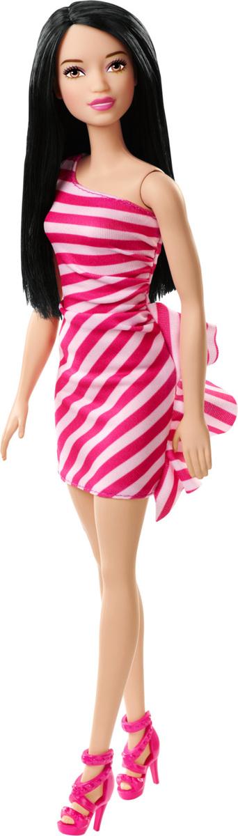 Barbie Кукла Брюнетка Сияние моды цвет платья в полоску (розовая, красная)  #1