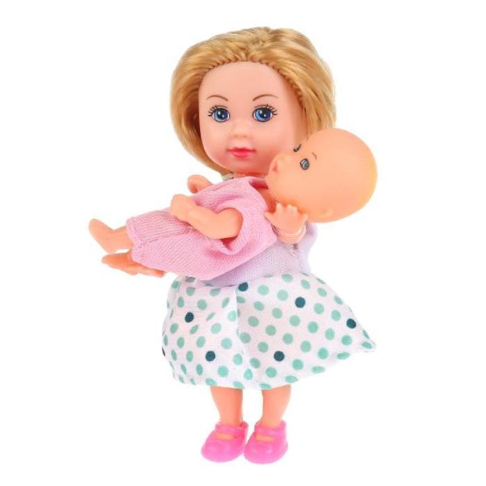 2 куклы машенька 2 см и младшая сестренка 5 см, аксессуары в комплекте, на блистере, Карапуз  #1
