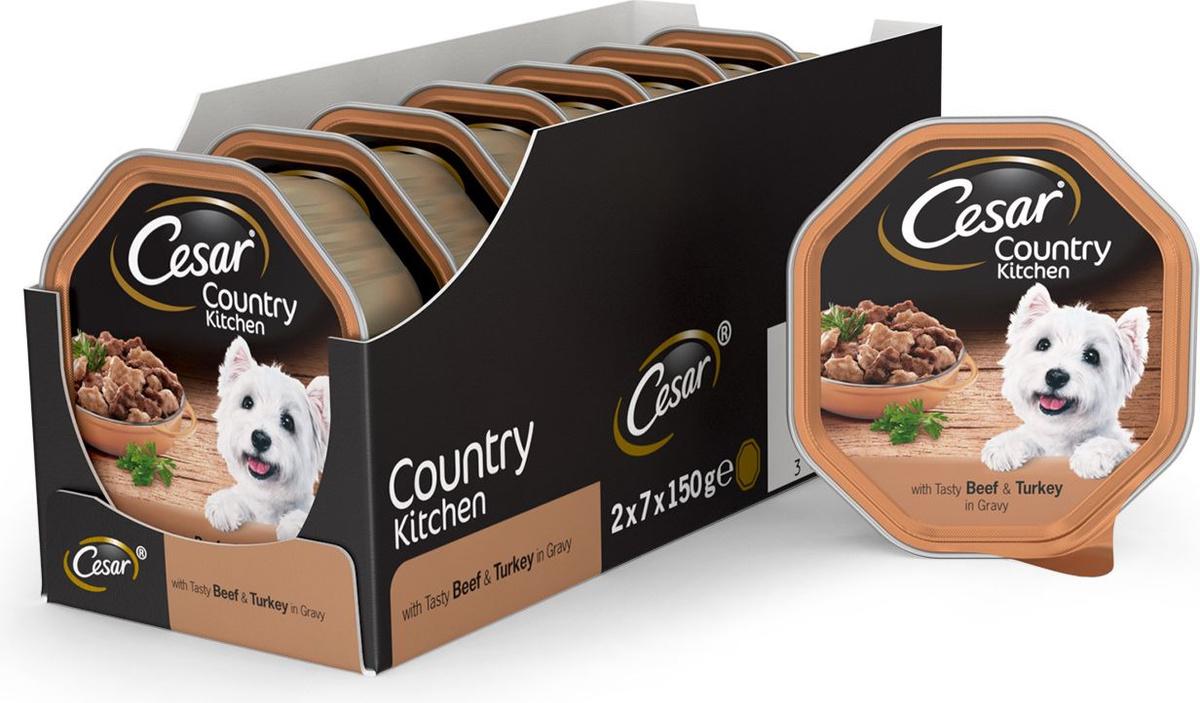Влажный корм для собак Cesar Фермерская Кухня, с аппетитной говядиной и индейкой в соусе, 150 г х 14 #1