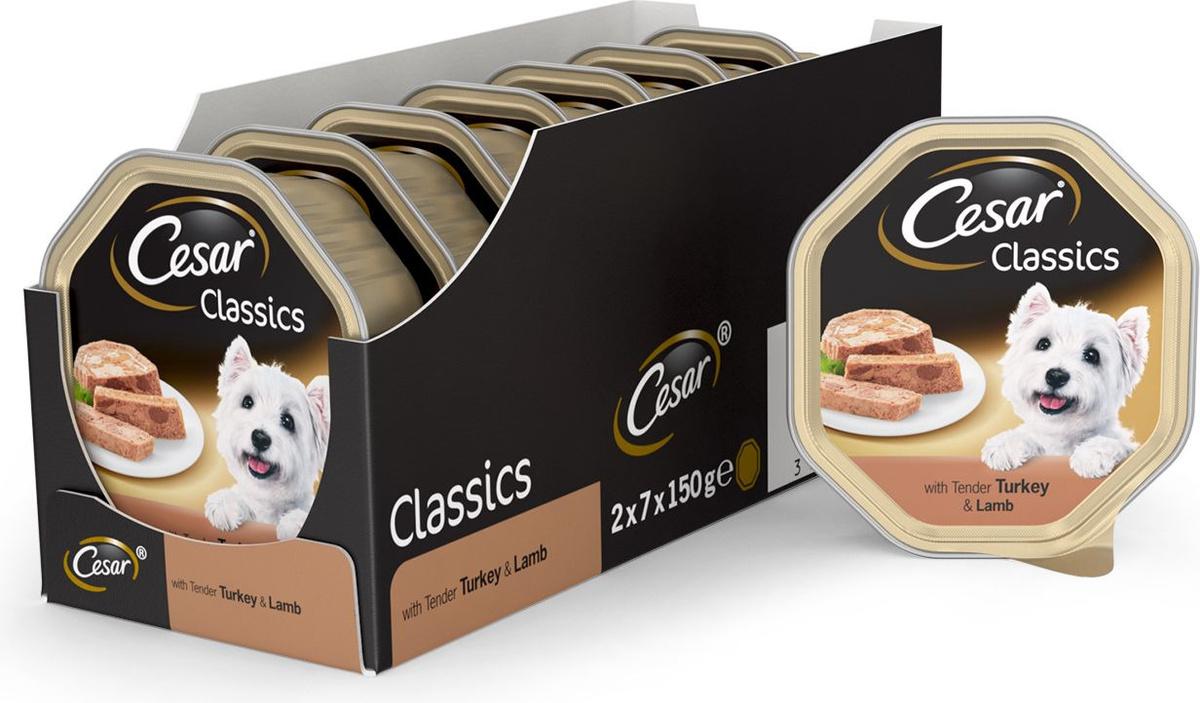 Корм консервированный для собак Cesar Классический, с нежной индейкой и ягненком, 150 г х 14 шт  #1
