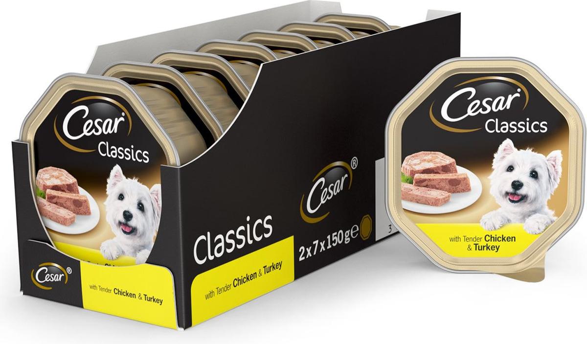 Влажный корм для собак Cesar Классический, с нежной курицей и индейкой, 150 г х 14 шт  #1