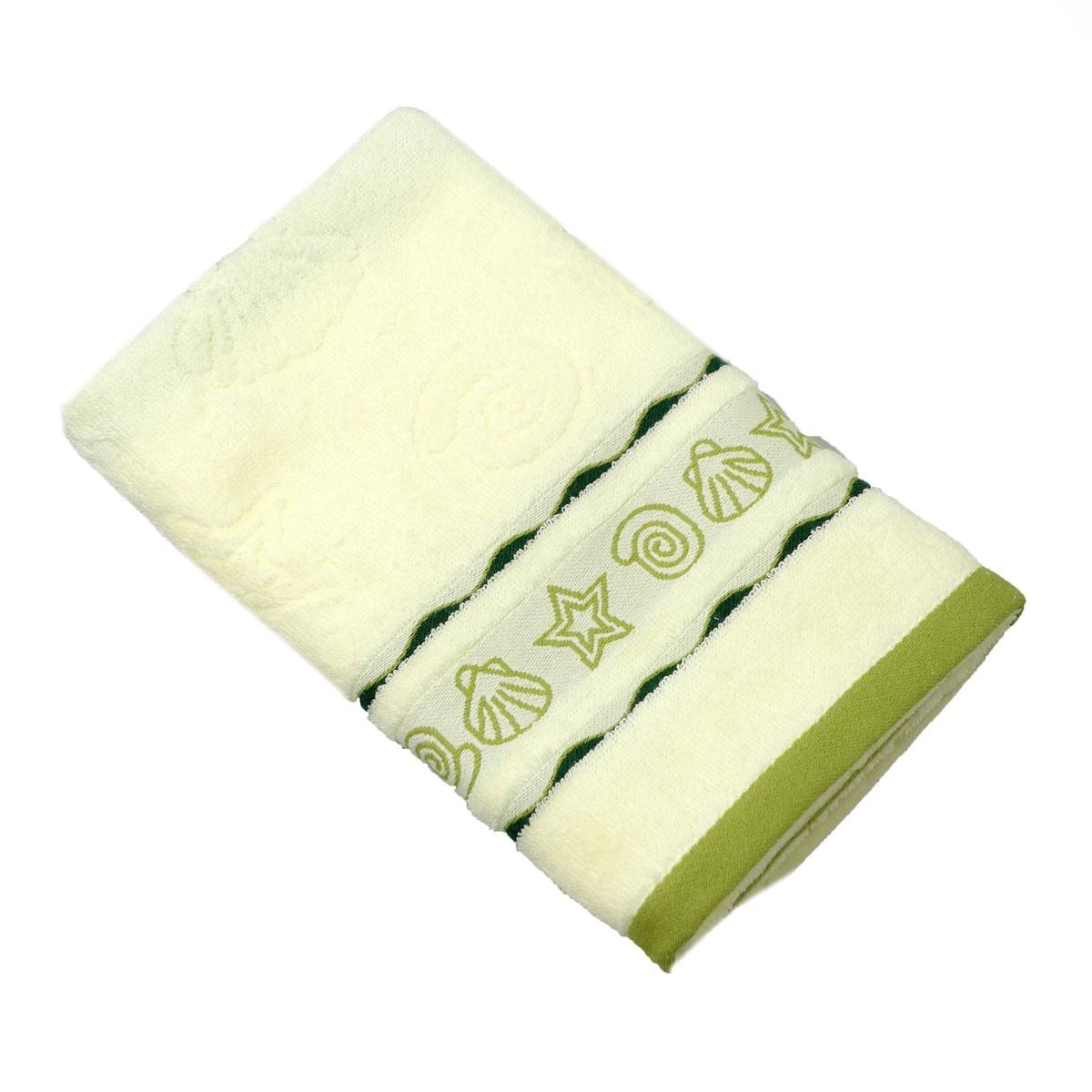 Полотенце для лица, рук или ног Belezza Maritime Хлопок, Махровая ткань, 50x80 см, кремовый, зеленый #1