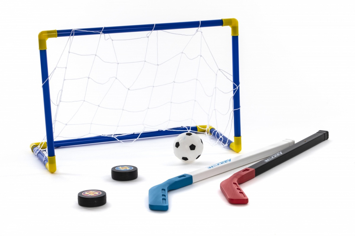 """Хоккей Набор детский для игры Bradex """"Хоккейное настроение"""" Ворота с сеткой, 2 клюшки, 2 шайбы; мяч, #1"""