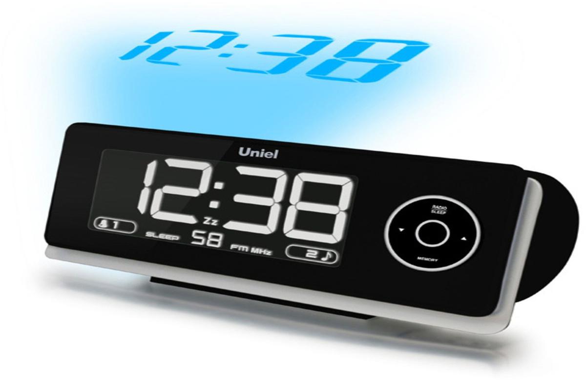 Электронные часы с радио, будильником и проекцией Uniel UTP-43, черный  #1