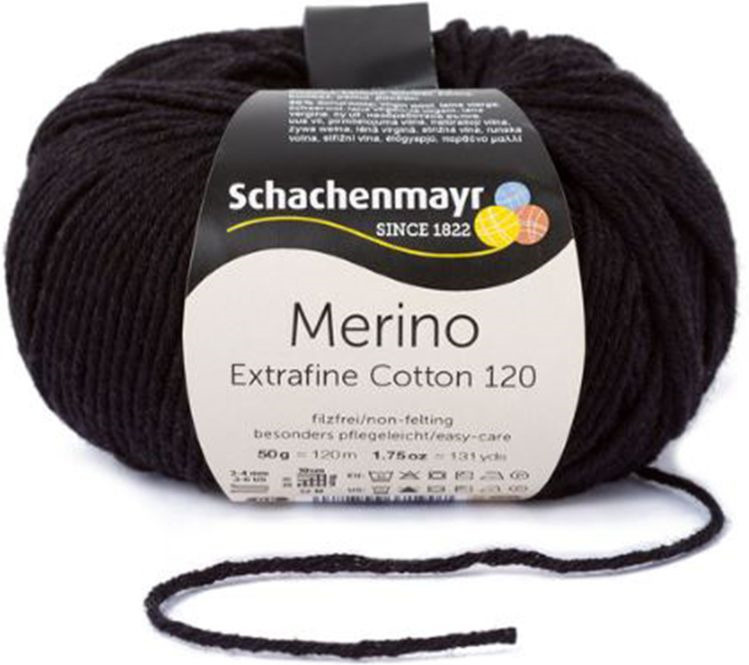 Пряжа для вязания Schachenmayr Originals Merino Extrafine Cotton 19, черный (00599), 120 м, 50 г  #1