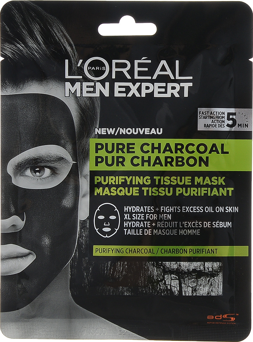 L'Oreal Paris Men Expert Pure Power Тканевая маска очищающая #1