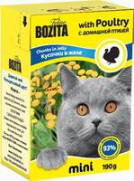 Консервы для кошек Bozita mini, мясные кусочки в желе, с домашней птицей, 190 г