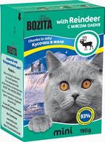 Консервы для кошек Bozita mini, мясные кусочки в желе, с мясом оленя, 190 г