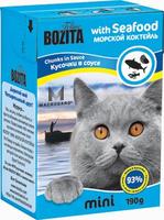 Консервы для кошек Bozita mini, мясные кусочки в желе в соусе, с морским коктейлем, 190 г