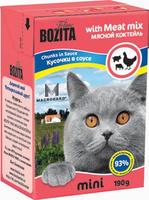 Консервы для кошек Bozita mini, мясные кусочки в соусе, с мясным коктейлем, 190 г