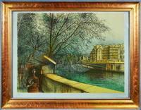 Букинисты-II. Цветная литография. Жан Карзу. Франция, 1983 год