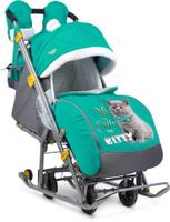Санки-коляска NIKA KIDS Ника Детям 7-2 Котенок, цвет изумрудный