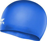 Шапочка для плавания детская Tyr Wrinkle Free Junior Silicone Cap, цвет: голубой. LCSJR